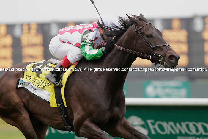 C.S. Silk, Javier Castellano up, wins the Grade I Just A Game Stakes on Belmont Stakes Day. Trainer is Dale Romans.  Belmont Park, Elmont, PA. June 10, 2011. (Joan Fairman Kanes/Eclipsesportswire)