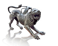 "Etruscan bronce statue of the mythical Chimera known as the  ""Chimera of Arezzo"" from the St Lorentino Gate of Arezzo, made end of 5th - early 4th century B.C, inv no 1,  National Archaeological Museum Florence, Italy , white background"