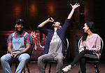 """Deon'te Goodman, Marc delaCruz, Gabriella Sorrentino during the Q & A before The Rockefeller Foundation and The Gilder Lehrman Institute of American History sponsored High School student #EduHam matinee performance of """"Hamilton"""" at the Richard Rodgers Theatre on 4/03/2019 in New York City."""