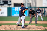 Atlanta Braves relief pitcher Huascar Ynoa (73) delivers a pitch during a Grapefruit League Spring Training game against the Detroit Tigers on March 2, 2019 at Publix Field at Joker Marchant Stadium in Lakeland, Florida.  Tigers defeated the Braves 7-4.  (Mike Janes/Four Seam Images)
