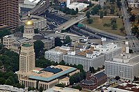 aerial photograph of the Georgia State Capitol building, Atlanta City Hall and the legislative office buildings, Atlanta, Georgia, Trinity Methodist Church in the foreground right