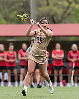 NEWTON, MA - MAY 14: Kayla Martello #38 of Boston College passes the ball during NCAA Division I Women's Lacrosse Tournament first round game between Fairfield University and Boston College at Newton Campus Lacrosse Field on May 14, 2021 in Newton, Massachusetts.