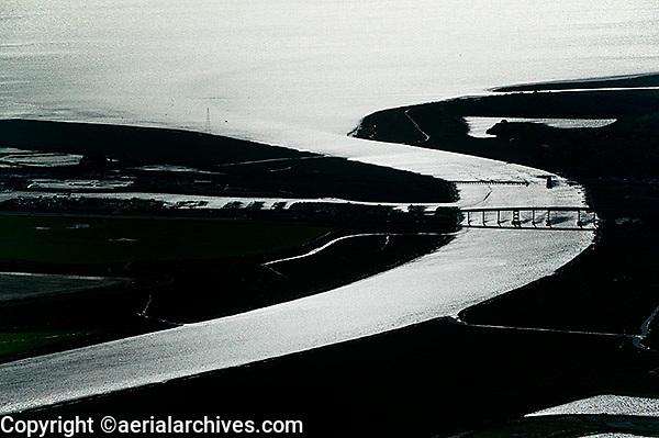 aerial view above mouth Petaluma river San Francisco bay Sonoma Marin counties California