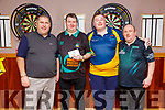 Darts Tournament: Winner of the Darts Tournament Tadhg Carroll, second right pictured with runner up Conny Finnan & Christy Walsh  & Judge Chris Curran at Christy's Bar, Listowel on Saturday night last.