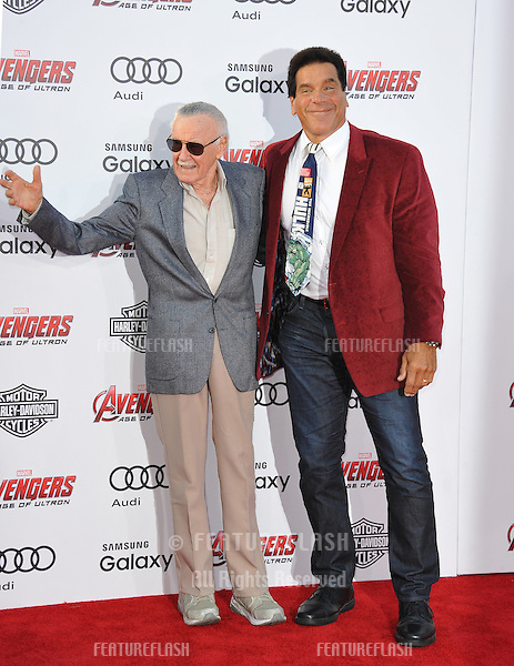 """Stan Lee & Lou Ferrigno (right) at the world premiere of """"Avengers: Age of Ultron"""" at the Dolby Theatre, Hollywood.<br /> April 13, 2015  Los Angeles, CA<br /> Picture: Paul Smith / Featureflash"""