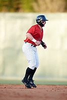Evan Skoug (11) of the Kannapolis Intimidators takes his lead off of second base against the Lakewood BlueClaws at Kannapolis Intimidators Stadium on April 5, 2018 in Kannapolis, North Carolina.  The Intimidators defeated the BlueClaws 4-3.  (Brian Westerholt/Four Seam Images)
