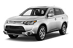 2015 Mitsubishi Outlander GT 4WD 5 Door SUV Angular Front stock photos of front three quarter view