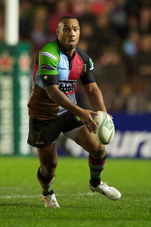 Jordan Turner-Hall of Harlequins in action during the Heineken Cup match between Harlequins and Biarritz Olympique Pays Basque at the Twickenham Stoop on Saturday 13th October 2012 (Photo by Rob Munro)