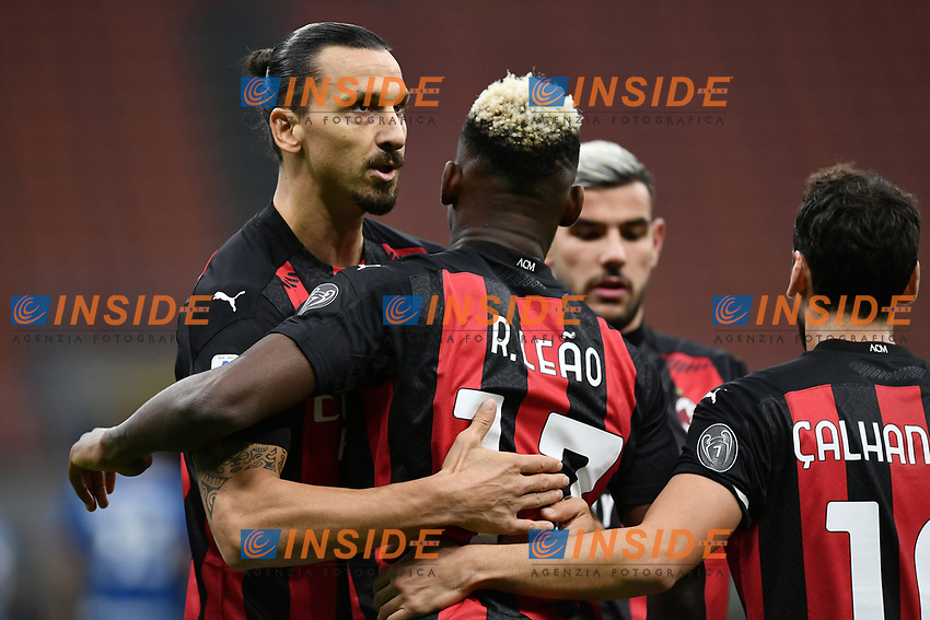 Zlatan Ibrahimovic of AC Milan celebrates with Rafael Leao after scoring a goal during the Serie A football match between FC Internazionale and AC Milan at stadio San Siro in Milano (Italy), October 17th, 2020. Photo Image Sport / Insidefoto