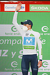 Enric Mas (ESP) Movistar Team retains the young riders White Jersey at the end of Stage 15 of the Vuelta Espana 2020, running 230.8km from Mos to Puebla de Sanabria, Spain. 5th November 2020. <br /> Picture: Luis Angel Gomez/PhotoSportGomez | Cyclefile<br /> <br /> All photos usage must carry mandatory copyright credit (© Cyclefile | Luis Angel Gomez/PhotoSportGomez)