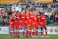 Western New York Flash players during the penalty kick shootout. The Western New York Flash defeated the Philadelphia Independence 5-4 in a penalty kick shootout after playing to a 1-1 tie during the Women's Professional Soccer (WPS) Championship presented by Citi at Sahlen's Stadium in Rochester NY, on August 27, 2011.