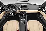 Stock photo of straight dashboard view of a 2019 Mazda MX-5 Miata Grand Touring Auto 2 Door Convertible