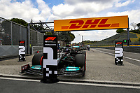 17th April 2021; Autodromo Enzo and Dino Ferrari, Imola, Italy; F1 Grand Prix of Emilia Romagna, Qualifying sessions; Lewis Hamilton GBR, Mercedes-AMG Petronas F1 Team car parked in parc ferme after taking pole