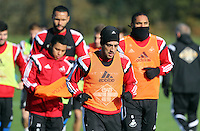 Pictured: Neil Taylor Wednesday 05 November 2014<br /> Re: Swansea City FC players training at Fairwood training ground, ahead of their Premier League game against Arsenal on Sunday.