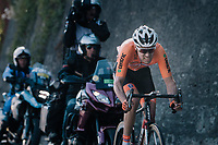Tom Dumoulin (NED/Sunweb) on his way to catching the leading trio with just 2km to go<br /> <br /> MEN ELITE ROAD RACE<br /> Kufstein to Innsbruck: 258.5 km<br /> <br /> UCI 2018 Road World Championships<br /> Innsbruck - Tirol / Austria