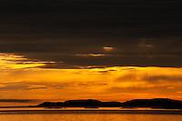 Sunset Over Lake Superior: orange and grey.