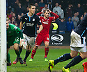 Aberdeen's Niall McGinn hits the ball off the underside of the bar in the last minute.