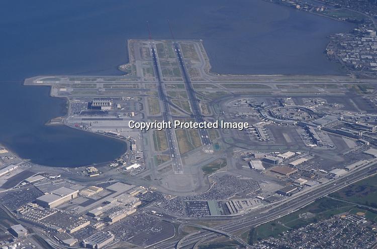 Aerial view of San Francisco International Airport.