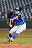 Pitcher Jeffery Harding (2) of Cambridge-South Dorchester High School in Cambridge, Maryland playing for the Toronto Blue Jays scout team during the East Coast Pro Showcase on July 31, 2013 at NBT Bank Stadium in Syracuse, New York.  (Mike Janes/Four Seam Images)