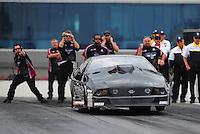 Sept. 18, 2011; Concord, NC, USA: NHRA pro mod driver Leah Pruett during the O'Reilly Auto Parts Nationals at zMax Dragway. Mandatory Credit: Mark J. Rebilas-