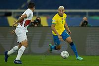 5th July 2021; Nilton Santos Stadium, Rio de Janeiro, Brazil; Copa America, Brazil versus Peru; Richarlison of Brazil cuts back inside on the ball