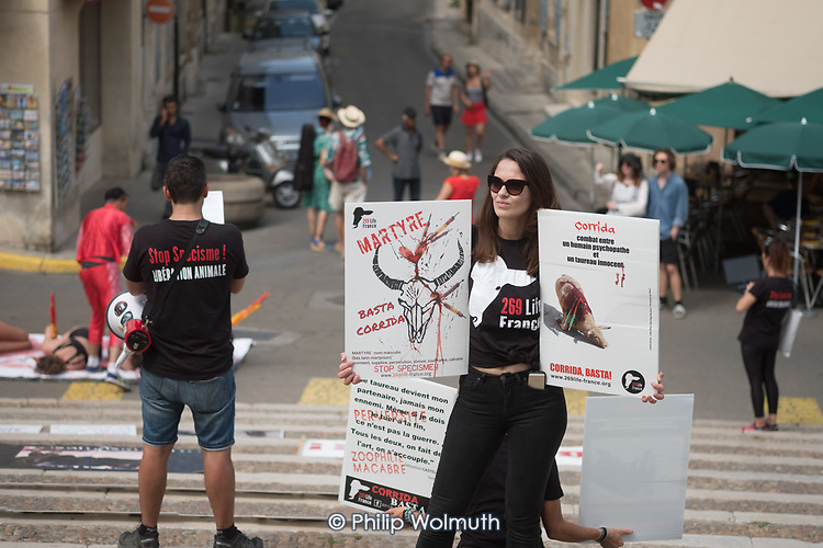 Animal Liberation campaigners protest at bullfights held in the Roman Arena , Arles, France.