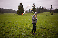 Brett Bittenbender walks through an open field on the United State's Department of Forestry land outside of McCall, ID prior to a training exercise for the crew.