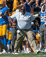 Pitt assistant coach Andre Powell celebrates Jester Weah's touchdown catch. The North Carolina Wolfpack defeated the Pitt Panthers 35-17 at Heinz Field, Pittsburgh, PA on October 14, 2017.
