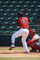 Sherten Apostel (13) of the Hickory Crawdads at bat against the Lakewood BlueClaws at L.P. Frans Stadium on April 28, 2019 in Hickory, North Carolina. The Crawdads defeated the BlueClaws 10-3. (Brian Westerholt/Four Seam Images)