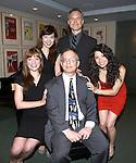 (clockwise from bottom left) Jillian Louis, Joy Son, Jonathan Rayson and Tara Novie pose for photos with 2013 Kleban Prize winner Alan Gordon attending the 23rd Annual Kleban Prize Reception at ASCAP on June 24, 2013 in New York City.