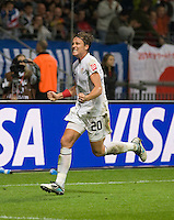 Abby Wambach (20) of the United States celebrates her goal during the final of the FIFA Women's World Cup at FIFA Women's World Cup Stadium in Frankfurt Germany.  Japan won the FIFA Women's World Cup on penalty kicks after tying the United States, 2-2, in extra time.