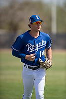 Kansas City Royals left fielder Cal Jones (14) during a Minor League Spring Training game against the Milwaukee Brewers at Maryvale Baseball Park on March 25, 2018 in Phoenix, Arizona. (Zachary Lucy/Four Seam Images)