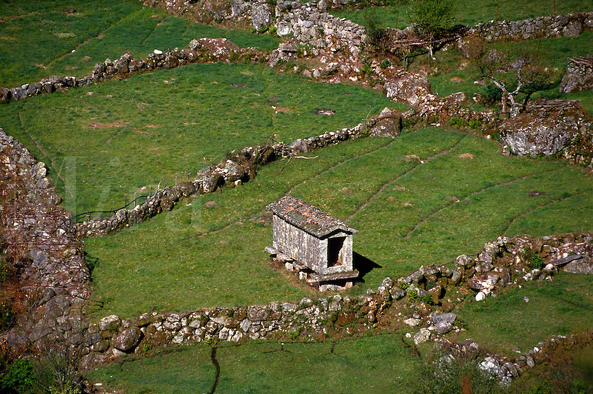 Farmland with granaries, Peneda-Geres National Park, Portugal
