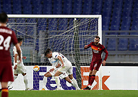 Football Soccer: UEFA Europa League UEFA Europa League Group A  AS Roma vs FCR Cluj, Olympic stadium, Rome, 5 November, 2020.<br /> Roma's Borja Mayoral (r) celebrates after scoring during the Europa League football match between Roma and Cluj at the Olympic stadium in Rome on  5 November, 2020.<br /> UPDATE IMAGES PRESS/Isabella Bonotto