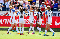 Houston, TX - April 9, 2017: The U.S. Women's national team go up 1-0 over Russia with Carli Lloyd scoring a PK in an international friendly match at BBVA Compass Stadium.