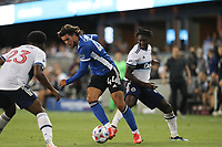 SAN JOSE, CA - AUGUST 13: Cade Cowell #44 of the San Jose Earthquakes during a game between Vancouver Whitecaps and San Jose Earthquakes at PayPal Park on August 13, 2021 in San Jose, California.