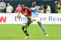 Houston, TX - Thursday July 20, 2017: Romelu Lukaku and Fernandinho during a match between Manchester United and Manchester City in the 2017 International Champions Cup at NRG Stadium.