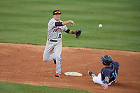 Frederick Keys second baseman Drew Turbin (15) throws to first base as Nathan Esposito (16) slides in during the second game of a doubleheader against the Wilmington Blue Rocks on May 14, 2017 at Daniel S. Frawley Stadium in Wilmington, Delaware.  Wilmington defeated Frederick 3-1.  (Mike Janes/Four Seam Images)