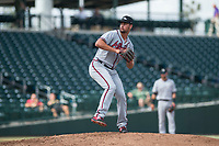 Peoria Javelinas relief pitcher Kyle Muller (22), of the Atlanta Braves organization, delivers a pitch during an Arizona Fall League game against the Mesa Solar Sox at Sloan Park on October 11, 2018 in Mesa, Arizona. Mesa defeated Peoria 10-9. (Zachary Lucy/Four Seam Images)