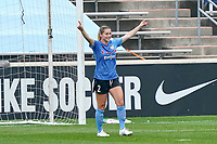 BRIDGEVIEW, IL - SEPTEMBER 26: Kealia Watt #2 of the Chicago Red Stars celebrates a goal scored by Savannah McCaskill #9 of the Chicago Red Stars (not in picture) during a game between Washington Spirit and Chicago Red Stars at SeatGeek Stadium on September 26, 2020 in Bridgeview, Illinois.