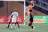 20th November 2020; Foxborough, MA, USA;  New England Revolution goalkeeper Matt Turner grabs a cross during the MLS Cup Play-In game between the New England Revolution and the Montreal Impact