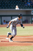 Peoria Javelinas designated hitter Joe McCarthy (21), of the Tampa Bay Rays organization, starts down the first base line during an Arizona Fall League game against the Mesa Solar Sox at Sloan Park on October 24, 2018 in Mesa, Arizona. Mesa defeated Peoria 4-3. (Zachary Lucy/Four Seam Images)