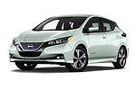 Stock pictures of low aggressive front three quarter view of a 2019 Nissan Leaf SV 5 Door Hatchback