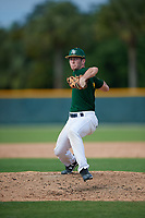 Noah Webb (16), from Alvin, Texas, while playing for the Athletics during the Baseball Factory Pirate City Christmas Camp & Tournament on December 28, 2017 at Pirate City in Bradenton, Florida.  (Mike Janes/Four Seam Images)