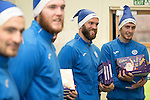 St Johnstone players took some festive cheer to Fairview School in Perth gving out selection boxes and gifts to the pupils…Pictured from left, Paul Paton, Zander Clark, Alan Mannus and Joe Shaughnessy<br /><br />Picture by Graeme Hart.<br />Copyright Perthshire Picture Agency<br />Tel: 01738 623350  Mobile: 07990 594431