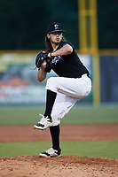 Bluefield Ridge Runners relief pitcher Shawn Runey (21) (Bluefield State) in action against the Burlington Sock Puppets at Burlington Athletic Park on June 8, 2021 in Burlington, North Carolina. (Brian Westerholt/Four Seam Images)