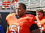 Oklahoma State Cowboys offensive linesman Brandon Webb (51) in action during the game between the Baylor Bears and the Oklahoma State Cowboys at the Boone Pickens Stadium in Stillwater, OK. Oklahoma State defeats Baylor 59 to 24.