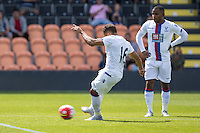 Dwight Gayle of Crystal Palace scores his team's first goal to make it 1-1 during the Friendly match between Barnet and Crystal Palace at The Hive, London, England on 11 July 2015. Photo by David Horn.