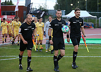 Assistant referee Ludovic Pector, referee Anthony Letellier and assistant referee Dimitr Van Wymeersch entering the pitch at the start of a female soccer game between FC Femina White Star Woluwe and Club Brugge YLA on the second matchday in the 2021 - 2022 season of Belgian Scooore Womens Super League , Friday 27 th of August 2021  in Woluwe , Belgium . PHOTO SPORTPIX | SEVIL OKTEM