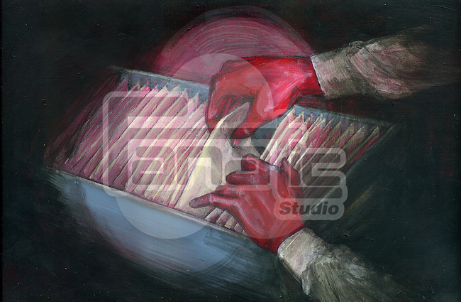 Illustration image of red handed thief stealing document